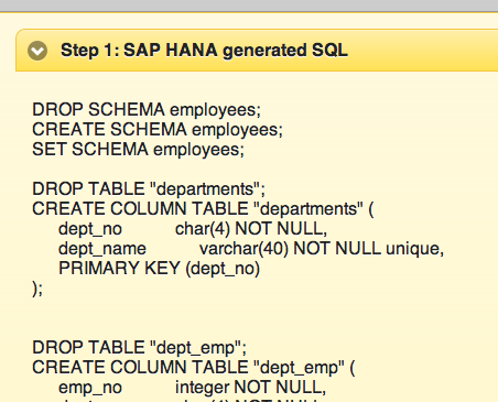 HANA SQL to generate SCHEMA